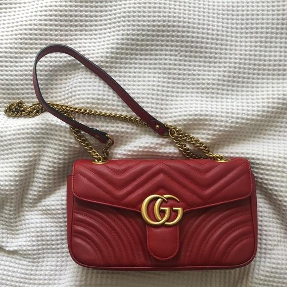 0508e6a545 Gucci Marmont red small bag